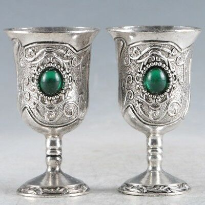 A Pair Of Chinese  Exquisite Silver Handmade  Cup RY061+b