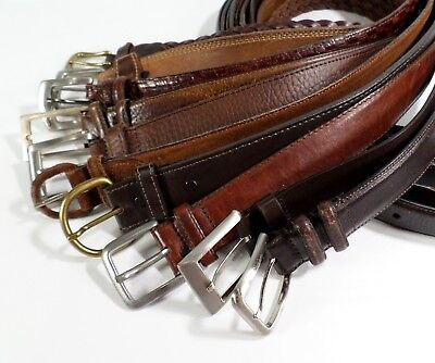 Lot of 10 Leather Belts Mens Reseller Wholesale Distressed Straps Buckles Brown