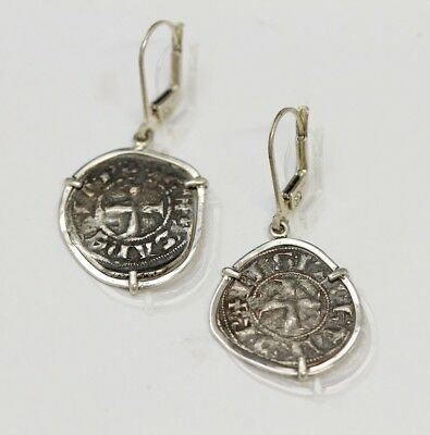 Silver Earrings Genuine Silver Ancient Byzantine Coins w/Cert.-024