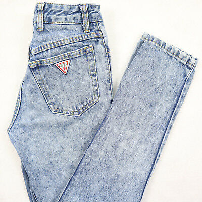 Vtg GUESS Triangle Pocket SLIM Fit Tapered Mom Jeans Womens 23x30 Stone Wash USA