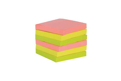 School Smart Self-Stick Adhesive Note, 3 X 3 in, Assorted Neon Colors, 100