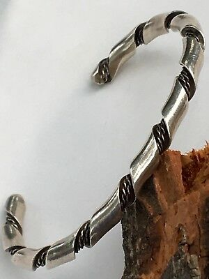 Vintage Heavy Sterling Silver 925 Hand Crafted Twist Cuff Bangle Bracelet