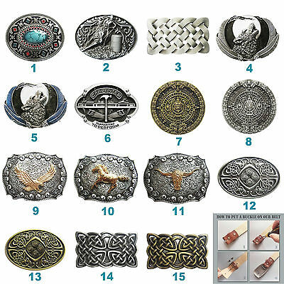Western Wolf Horse Bull Cowboy Belt Buckle Mix Styles Choice also Stock in US