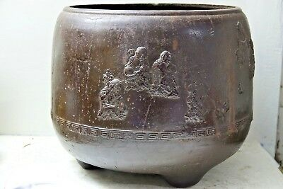 Large Early Bronzed Iron Chinese Censer - Seal Mark & Character Marks -Very Rare
