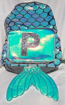 New Justice Silver Flip Sequins Mermaid Tail Backpack Initial P Regular Size