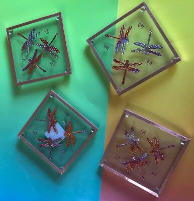 4 glass dragonfly coasters