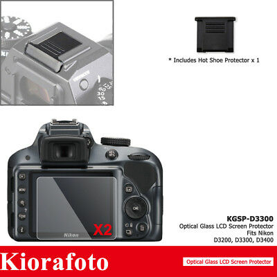 2PCS Tempered Glass Screen Protector + Hot Shoe Cover fr Nikon D3500 D3400 D3300