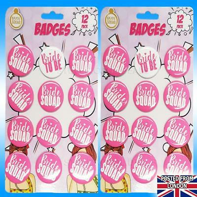 HEN DO PARTY (BRIDE SQUAD) BADGES Pink White Pin Badge Bridal Shower L Plate 💋