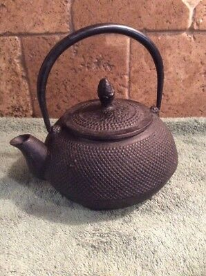 Vintage Japanese Tetsubin Black Hobnail Cast Iron Tea Pot Teapot Signed Marked
