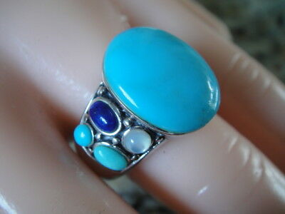 Antique design 925 sterling silver ring with big turquoise, Lapis & Opal stone