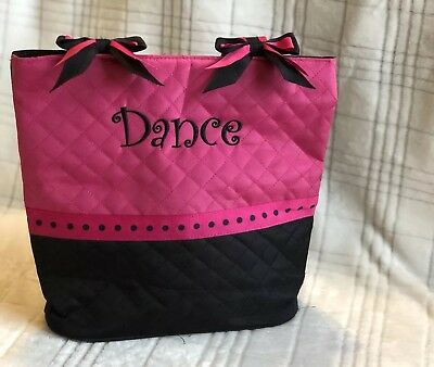 Girls Embroidered Dance Tote Bag, Zipper Closure, Interior Pockets, Bow Details
