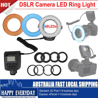 48 LEDs DSLR Ring Light+8 Rings+ 3 x Filters Diffusers For Canon Nikon Camera