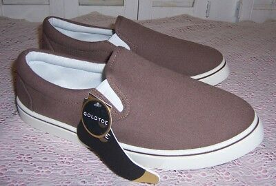 GoldToe Canvas Brown Slip On Men's Casual Shoes Size 8.5 New with Tags