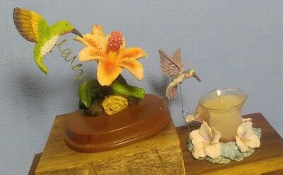Pretty Resin Hummingbird Figurine and Candle with Bird