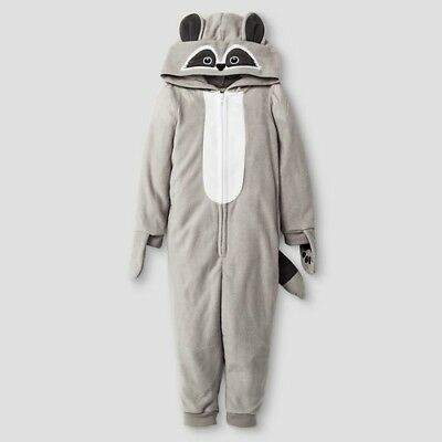Famjammies Raccoon Hooded One-Piece Pajamas Union Suit - xsmall 4/5