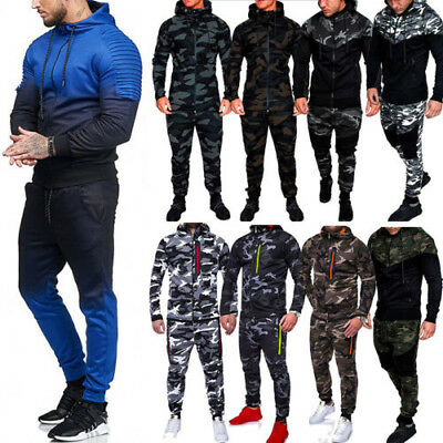 Mens Tracksuit Set Camo Hoodie Top & Bottoms Joggers Gym Contrast Jogging Sports
