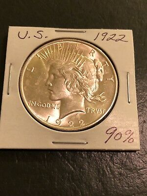 1922 United States Silver Peace Dollar - 90% Silver (Free Shipping)