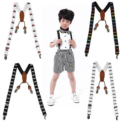 Boys Girls Children Moustache Adjustable Braces Colorful- School Uniform Wear UK