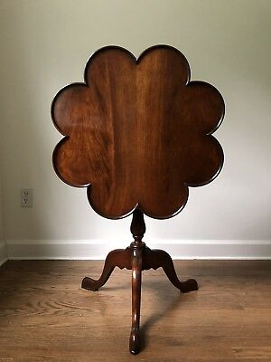 Mahogany Scallop Tilt Top Pie Crust Tea Table with Bird Cage Top Fully Turns