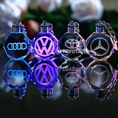 Car logo crystal led keychain changing colors gift christmas audi bmw vw opel