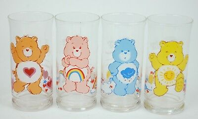 Vintage Pizza Hut Care Bear Glass Cup Collectible Set 1983 RARE HTF