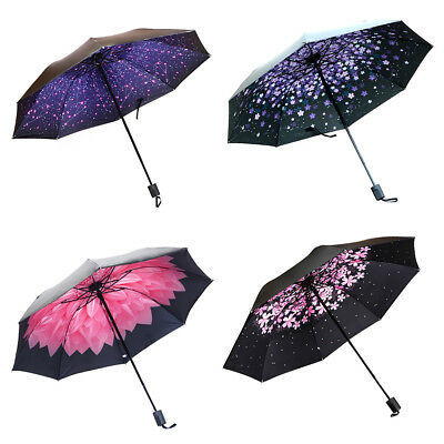 Women Automatic Windproof Umbrella Anti-UV Coating Compact Rainy Sunny lot MJ6G