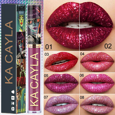 8 Colors Glitter Liquid Lipstick Metallic Matte Lip Gloss Waterproof Longlasting