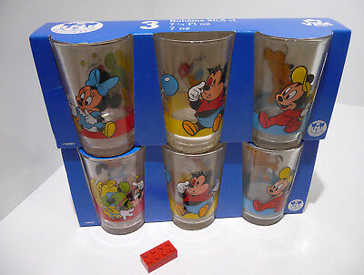 Disney Collection 6 alte Gläser France VMC   Trinkgläser Set -Neu-