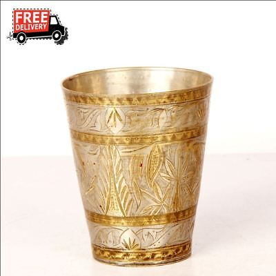 Old 1930's Handcrafted Bucket Engraved Brass Milk / Lassi Glass Rich Patina 8280