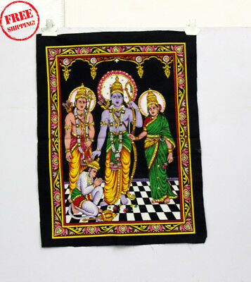 Unique Handmade Color Painting Of Ram Darbar On Cloth 10420