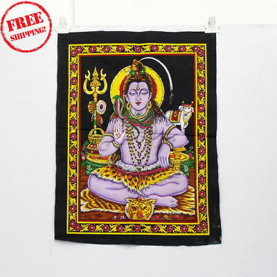 Unique Handmade Color Painting Of Lord Shiva While Meditating On Cloth 10407