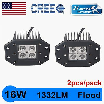 2X 16W Cree LED Work Light Square Flush Mount Flood Beam Off Road Fog 4wd Truck