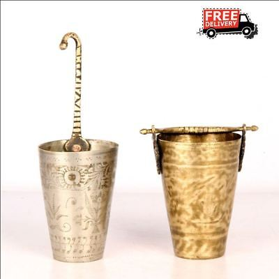 2 Pc Old 1930's Handcrafted Bucket Engraved Brass Milk / Lassi Glass 7410