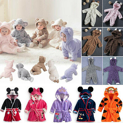 Toddler Kids Girl Boy Bath Robe Sleepwear Soft Warm Cartoon Pajamas Nightwear uk