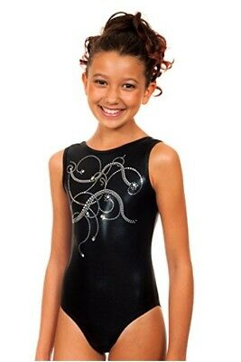 TumbleWear Bree Silver Swirls Leotard Gymnastics Dance Child Medium CM 7-8
