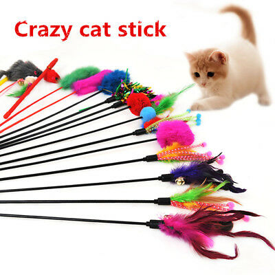 Cat Teaser Kitten Toy Mouse Hairball Feather Bell Rod Interactive Chaser Wand