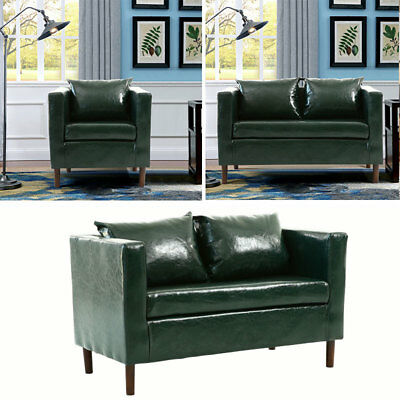 PU Leather Dark Green 1/2 Seater Settee Suite Couch Sofa Armchair Living Room UK