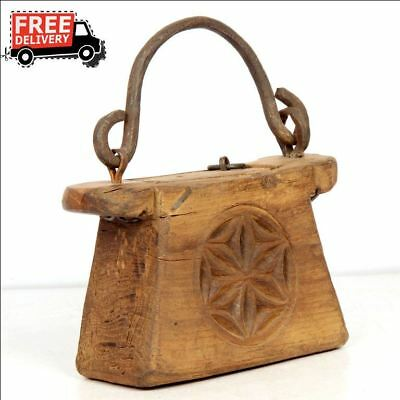 1900's Indian Antique Hand Carved Wooden Lanterns Oil Container Vintage 7984