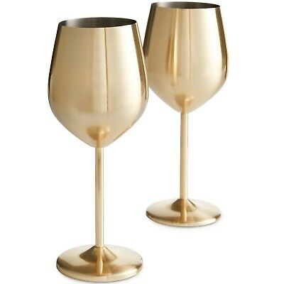 Vonshef Set Of 2 Gold Wine Glasses Stainless Steel Shatterproof With Gift Box
