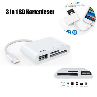 3 in 1 USB Hub Kamera Konverter Speicherkarte SD Reader für Apple iPad / iPhone