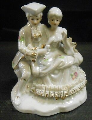 Vintage Porcelain Dresden Style Figurine Man & Lady Seated With Lace          Js