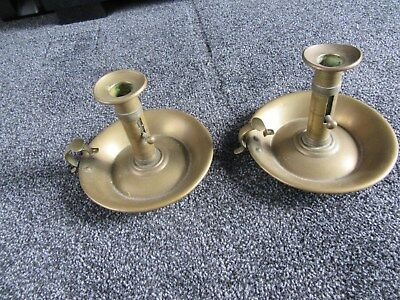 Pair of Antique Brass Chamber Candlesticks - probably pre 1900