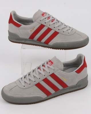 adidas Jeans Trainers in Solid Grey & Scarlet Red - suede retro classic shoe