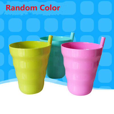 Kids Baby Toddler Slippy Training Cup Drinking Set With Straw Mug Tumbler Home