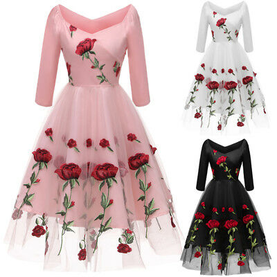 AU Women's 3/4 Sleeve Lace Rose Printed Swing Cocktail Ladies Party Skater Dress