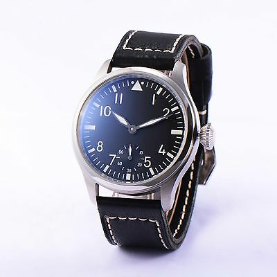 47mm Parnis 6498 Hand Winding Movement Men's Watch Small Second Stainless Case