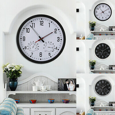 UK New Living Home Office Wall Clock Round Vintage Temperature & Humidity Modern