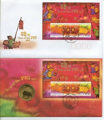 AUSTRALIA - PNC & FDC - YEAR of the PIG - 2007 - With special 50 cent coin