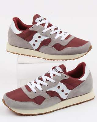 SAUCONY DXN TRAINERS in Grey & Maroon retro runners