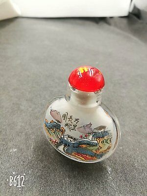 Chinese Antique/Vintage Inside Painted Great Wall of China Glass Snuff Bottle